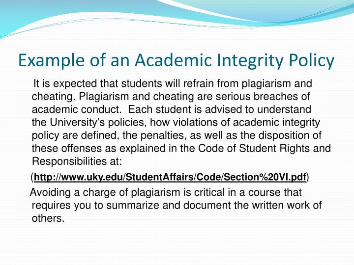Example of an Academic Integrity Policy