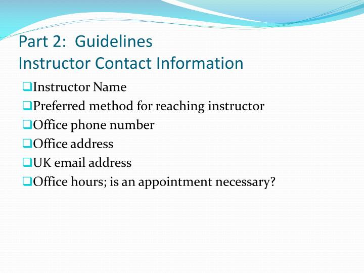 Part 2:  Guidelines
