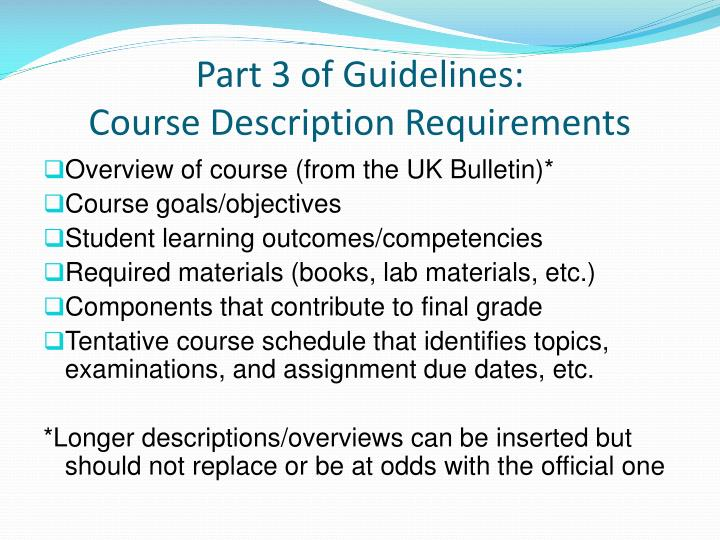 Part 3 of Guidelines: