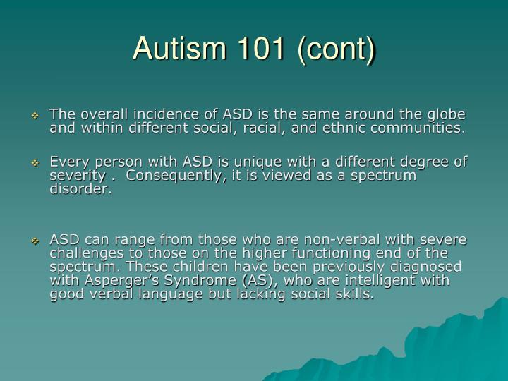Autism 101 cont