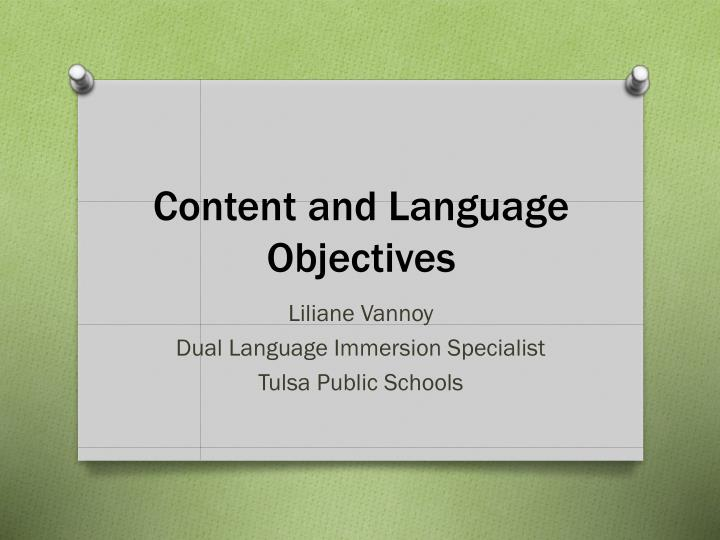 content and language objectives n.