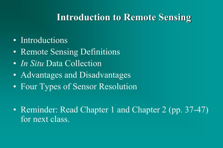 PPT - Introductions Remote Sensing Definitions In Situ Data