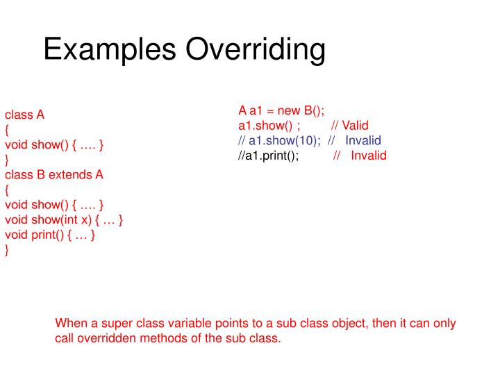 Examples Overriding