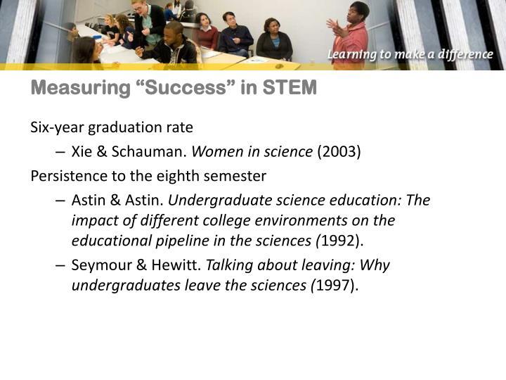 Measuring success in stem