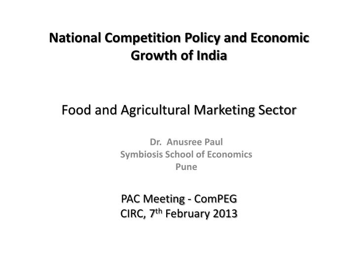 food and agricultural marketing sector n.