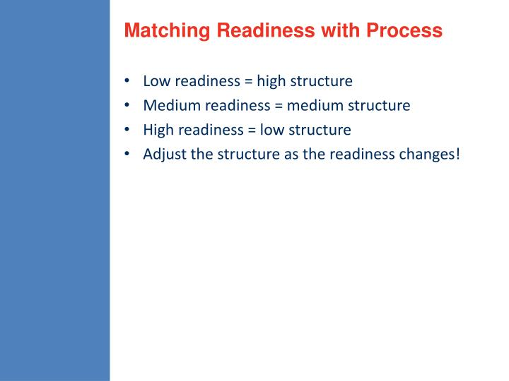 Matching Readiness with Process