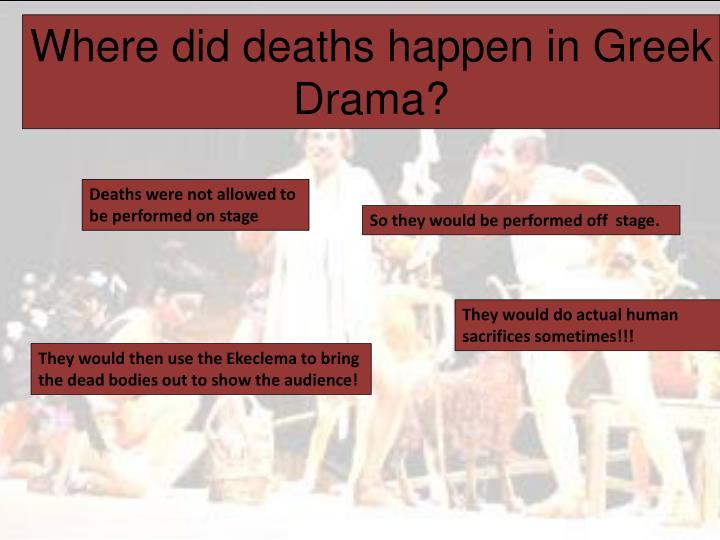 Where did deaths happen in Greek Drama?