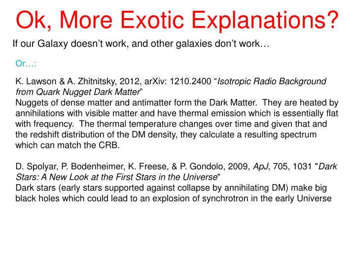 Ok, More Exotic Explanations?
