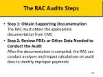 the rac audits steps
