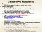 classes pre requisites