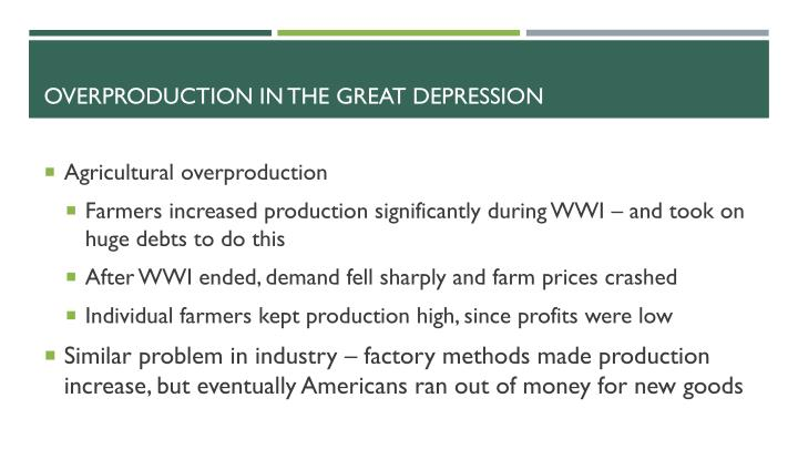 Overproduction In the great depression