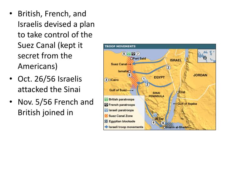 British, French, and Israelis devised a plan to take control of the Suez Canal (kept it secret from the Americans)