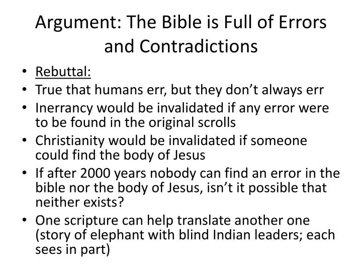 Argument: The Bible is Full of Errors and Contradictions