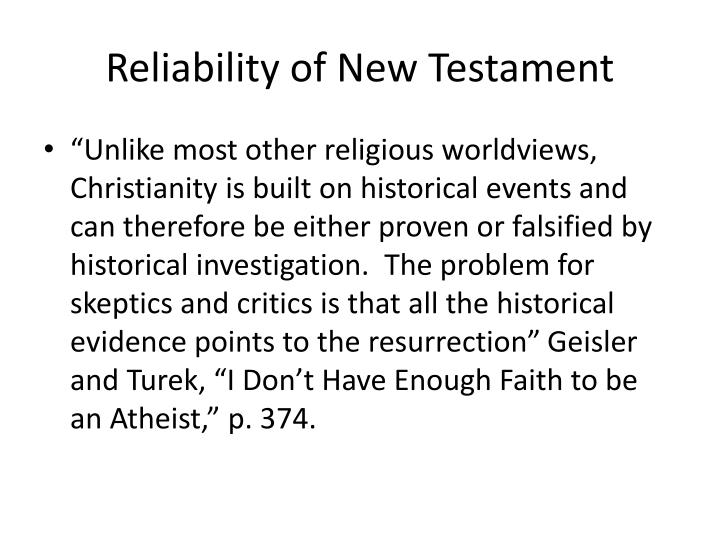 Reliability of New Testament