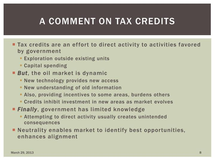 A comment on tax credits