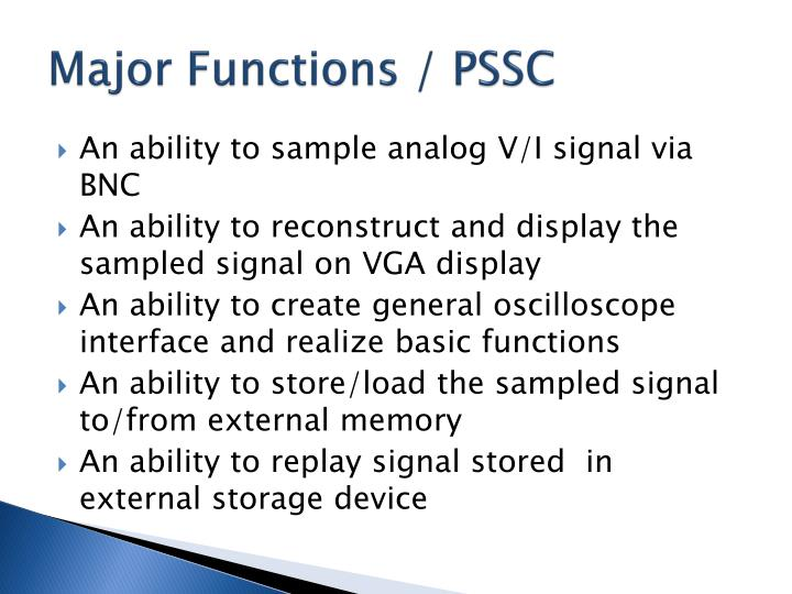 Major functions pssc
