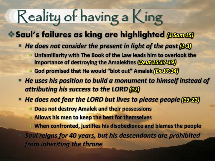 Reality of having a King