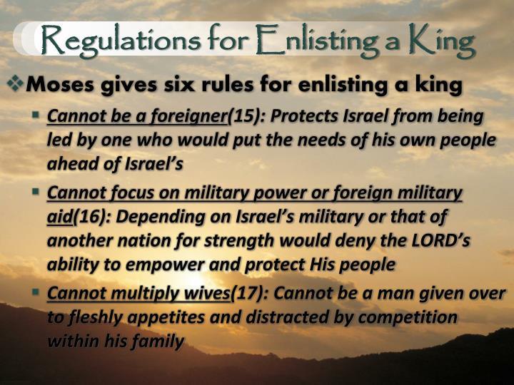 Regulations for Enlisting a King