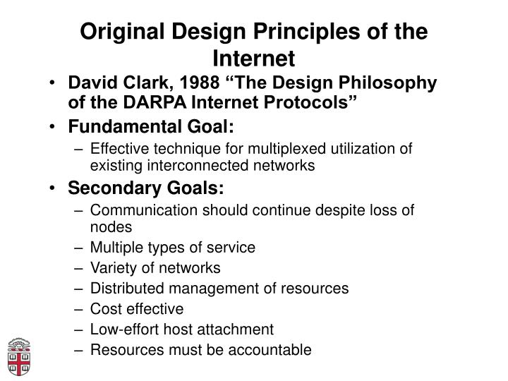Original Design Principles of the Internet