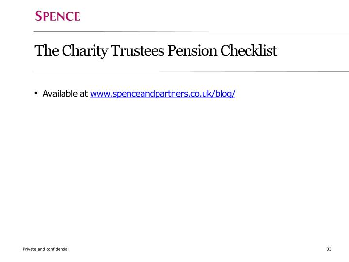 The Charity Trustees Pension Checklist