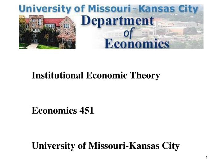Institutional Economic Theory