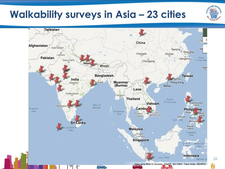 Walkability surveys in Asia – 23 cities