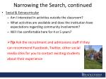 narrowing the search continued
