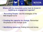 where will the resources come from to invest in building an engagement agenda