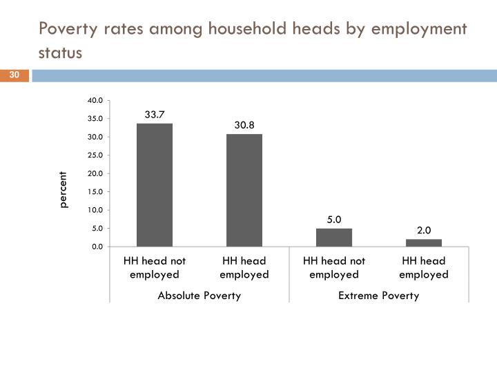 Poverty rates among household heads by employment status