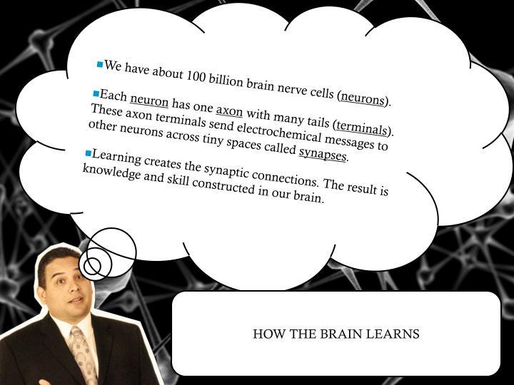 We have about 100 billion brain nerve cells (