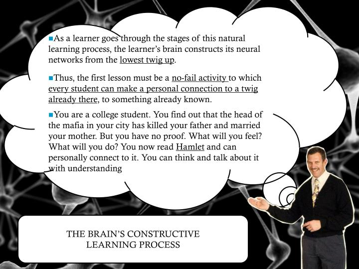 As a learner goes through the stages of this natural learning process, the learner's brain constructs its neural networks from the