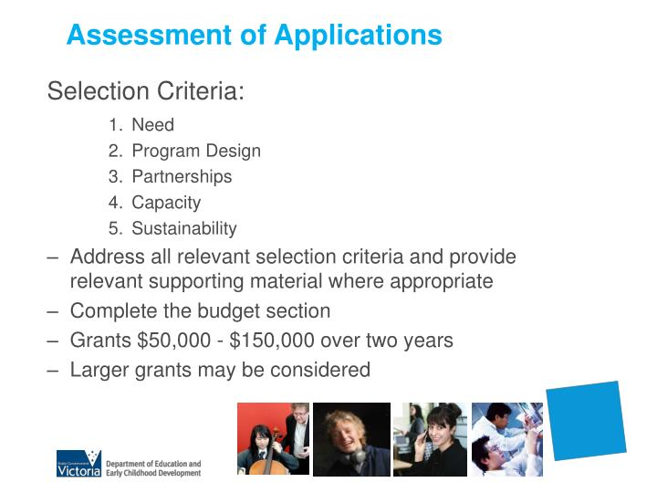 Assessment of Applications