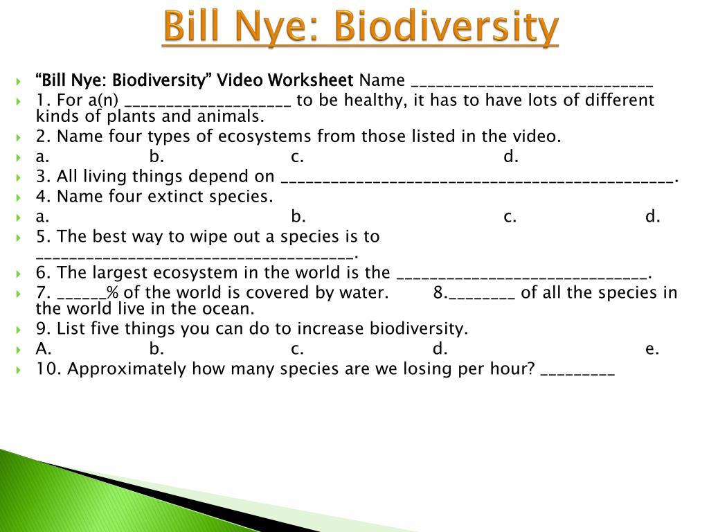 Bill Nye Biodiversity Video Worksheet Answers - Worksheet List