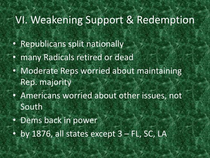 VI. Weakening Support & Redemption