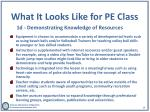 what it looks like for pe class 1d demonstrating knowledge of resources
