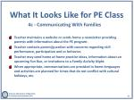what it looks like for pe class 4c communicating w ith f amilies