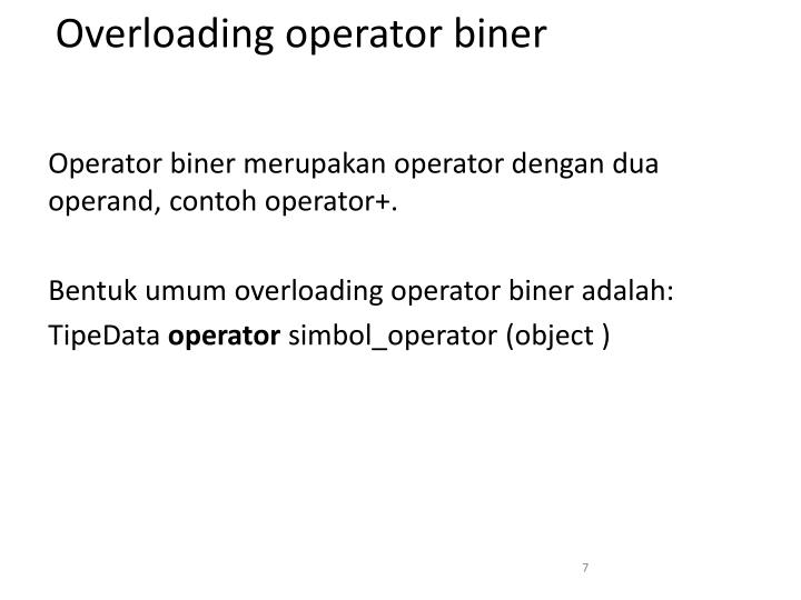 Overloading operator