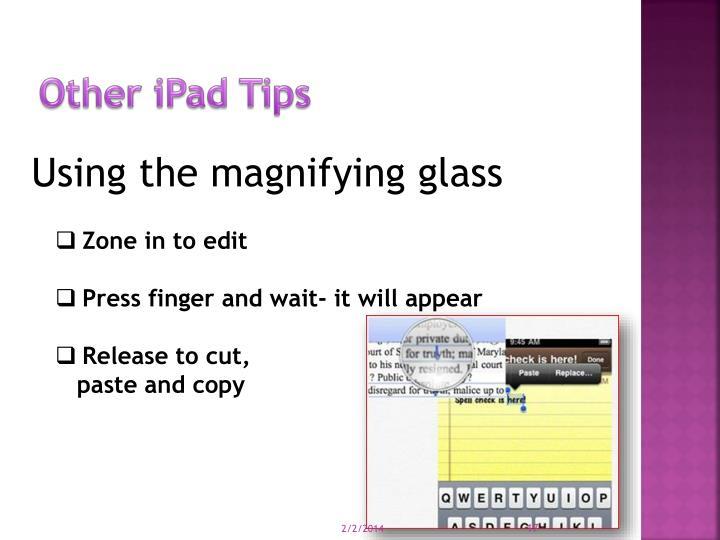 Other iPad Tips