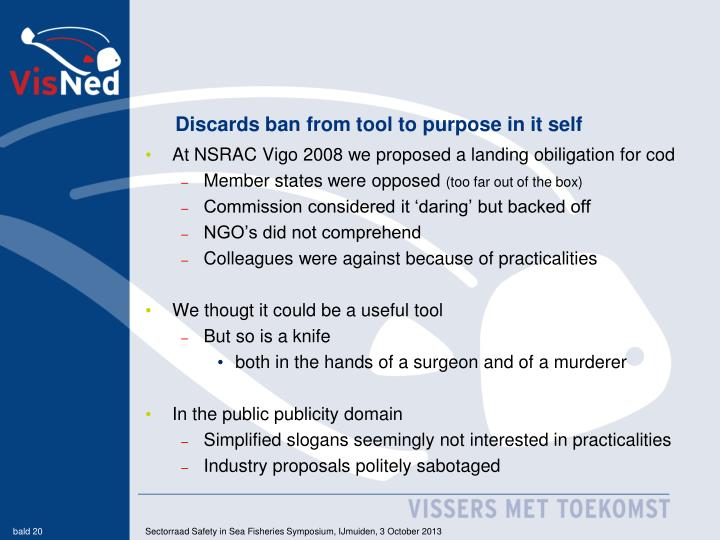 Discards ban from tool to purpose in it self