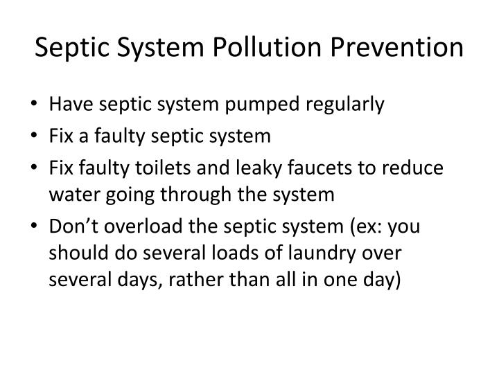 Septic System Pollution Prevention