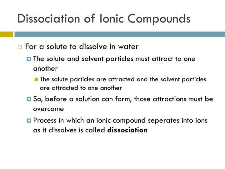 Dissociation of Ionic Compounds