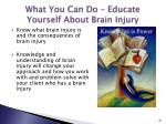 what you can do educate yourself about brain injury