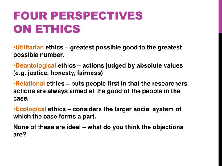 FOUR PERSPECTIVES ON ETHICS