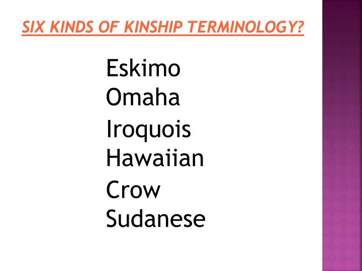 iroquois kinship essay In _____ kinship terminology, the term brother is given to ego's brother, father's brother's son, and mother's sister's song a different term is used for the sons of father's sister and mother's brother.