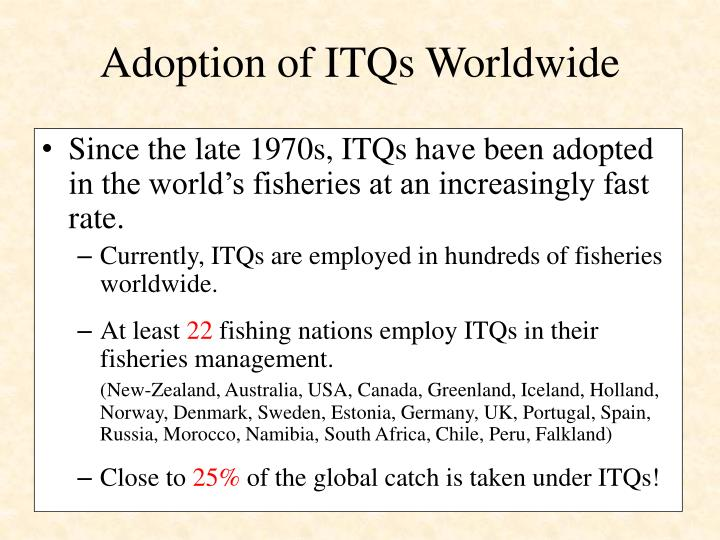 Adoption of ITQs Worldwide