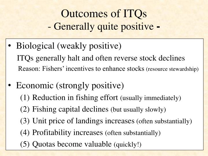 Outcomes of ITQs