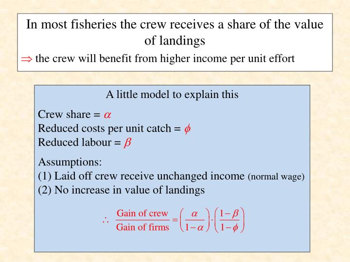 In most fisheries the crew receives a share of the value of landings
