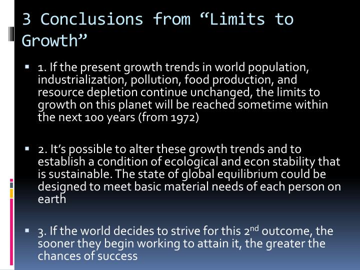 "3 Conclusions from ""Limits to Growth"""
