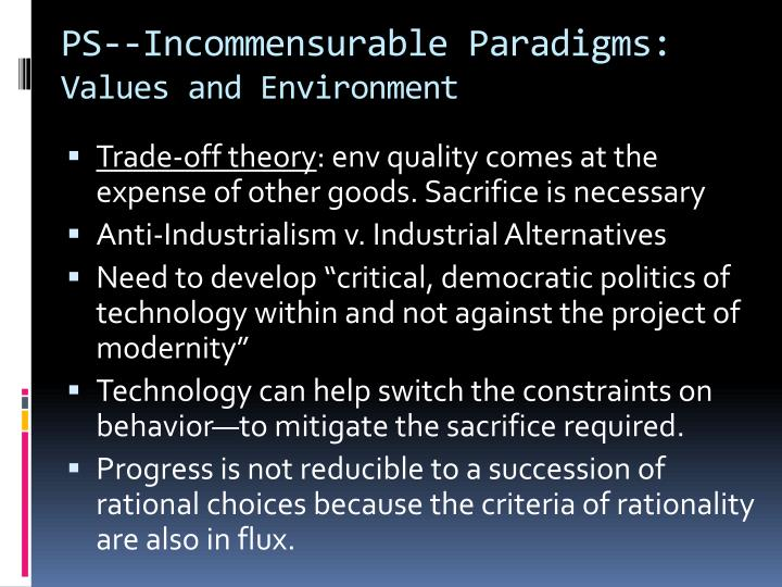 PS--Incommensurable Paradigms: