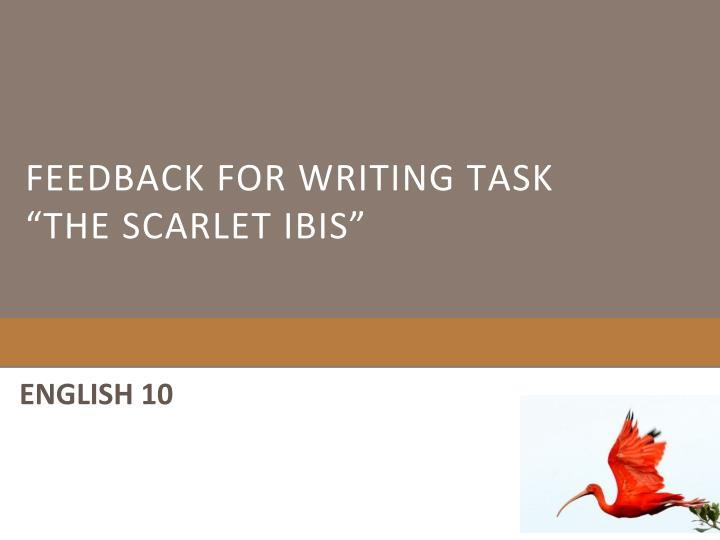 feedback for writing task the scarlet ibis n.